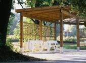Garden wood pergola