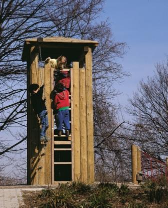 Children playground, wooden climbing tower