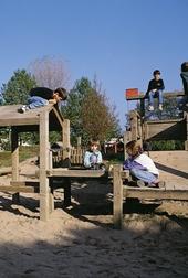 Children playground, wooden climbing structure