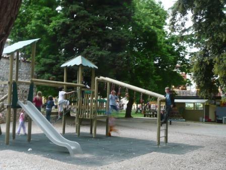 Children playground, slide with wooden scaffold