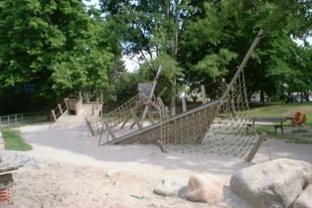 Children playground with wooden ship